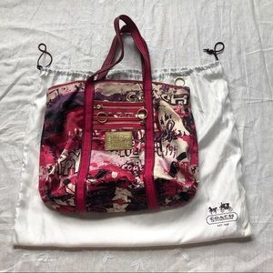 Authentic Coach Poppy Graffiti Script Tote Purse